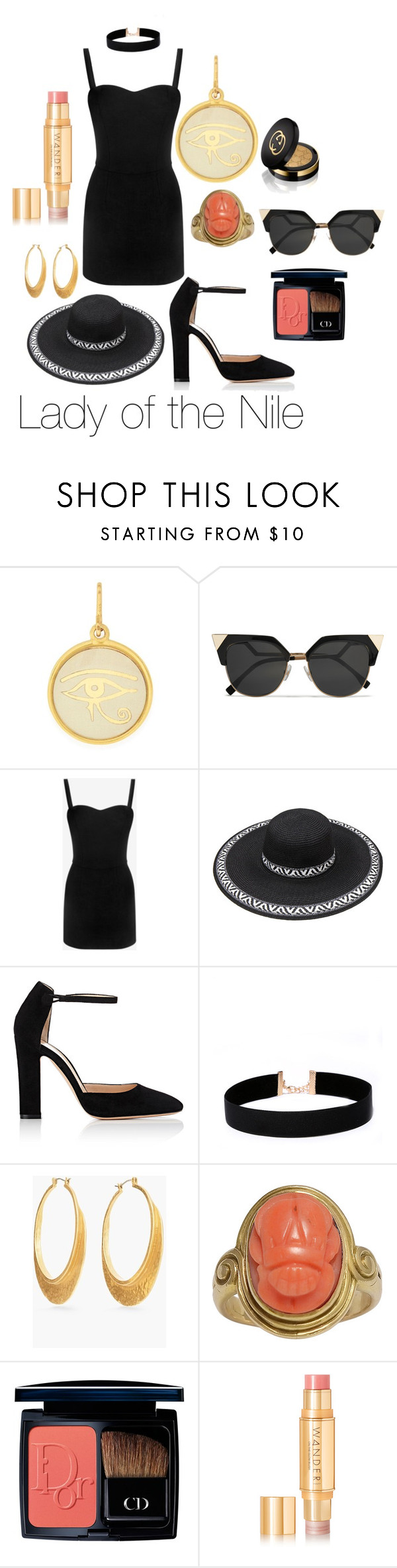 """""""Lady of the Nile"""" by marie-v-fox on Polyvore featuring Alex and Ani, Fendi, Alexander McQueen, Gianvito Rossi, LULUS, Chico's, Christian Dior, Wander Beauty and Gucci"""