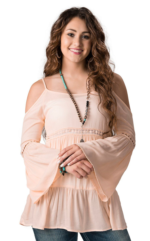 Karlie Women S Blush Off The Shoulder Long Sleeve Top