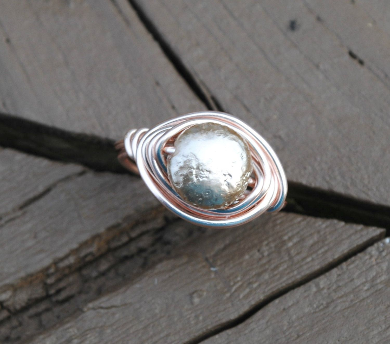 Wire Wrapped Ring Rose Gold Flat Pearl and Rose Gold Wire. $12.00 ...