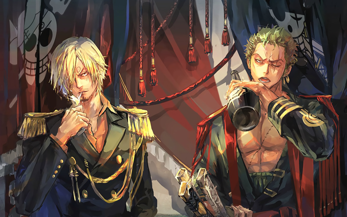 Download wallpapers Vinsmoke Sanji, Roronoa Zoro, 4k