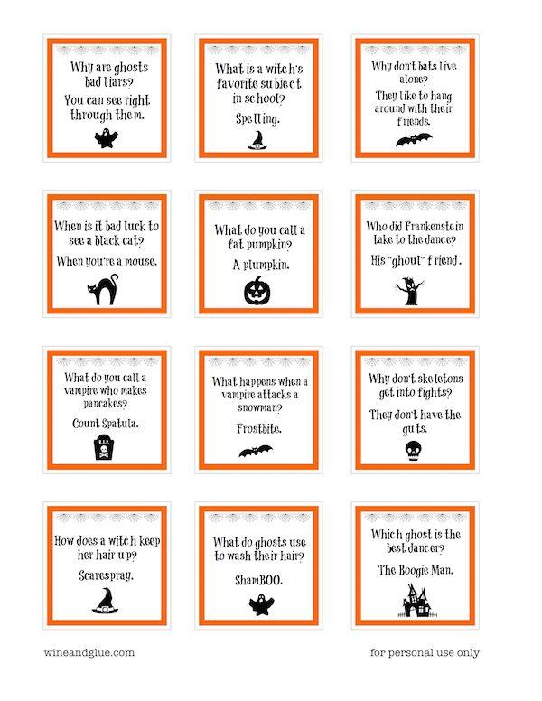halloween lunch box jokes pdf silhouette files - Kids Jokes Halloween