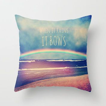 When It Rains, It Bows Throw Pillow by Deepti Munshaw | Society6