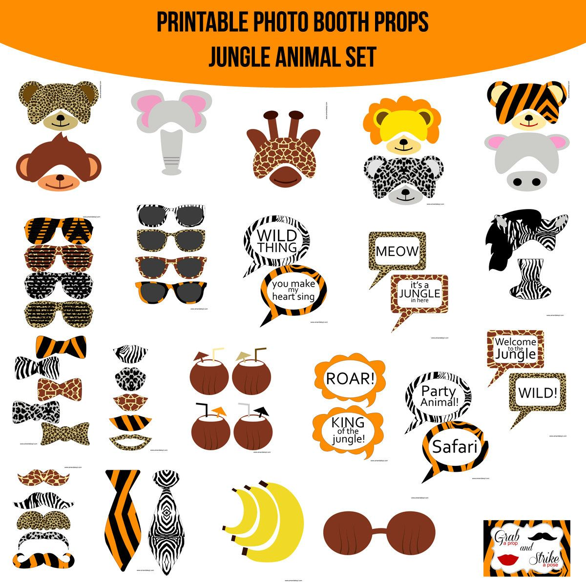 Google themes leopard - Instant Download Jungle Animal Print Safari Zebra Cheetah Tiger Leopard Giraffe Lion Monkey Printable Photo Booth