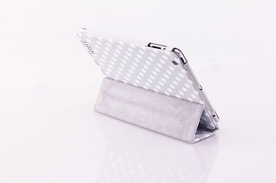 Apple iPad 2 3 Designer Polka Dot Gray Magnetic Folding Case Stand USA Seller on eBay! $10.99