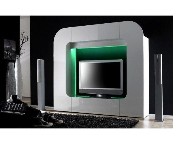 Meubletv laqu gris meuble tv meuble t l for Meuble mural 80
