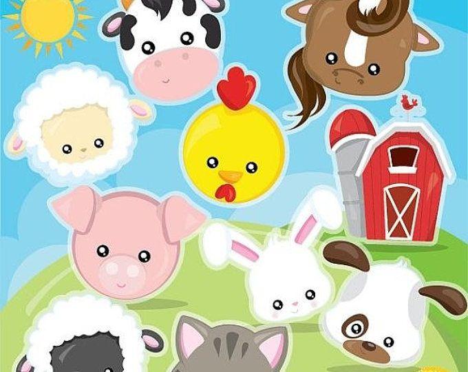 Farm Animal Faces Clipart Set
