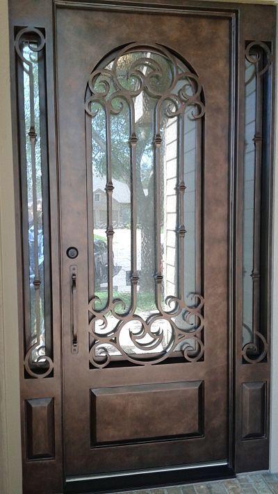 Custom Wrought Iron Door And Sidelights Aaleadedglass Com Iron Entry Doors Exterior Doors With Sidelights Wrought Iron Front Door