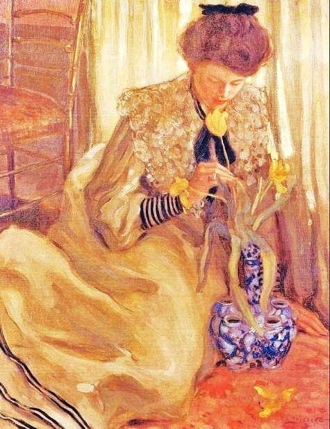 Frederick Frieseke (1874-1939) The Yellow Tulip