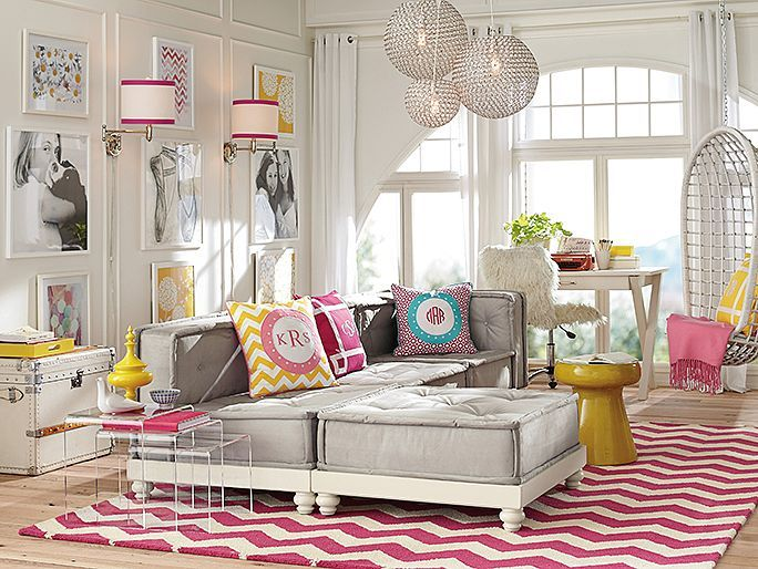 Beautiful Teen Girls Lounge Room Decorating By Pottery Barn With Pink Chevron Rug And Unique Pendant