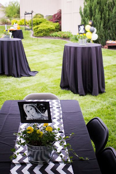 Outdoor graduation party black white yellow parties for Diy all white party decorations