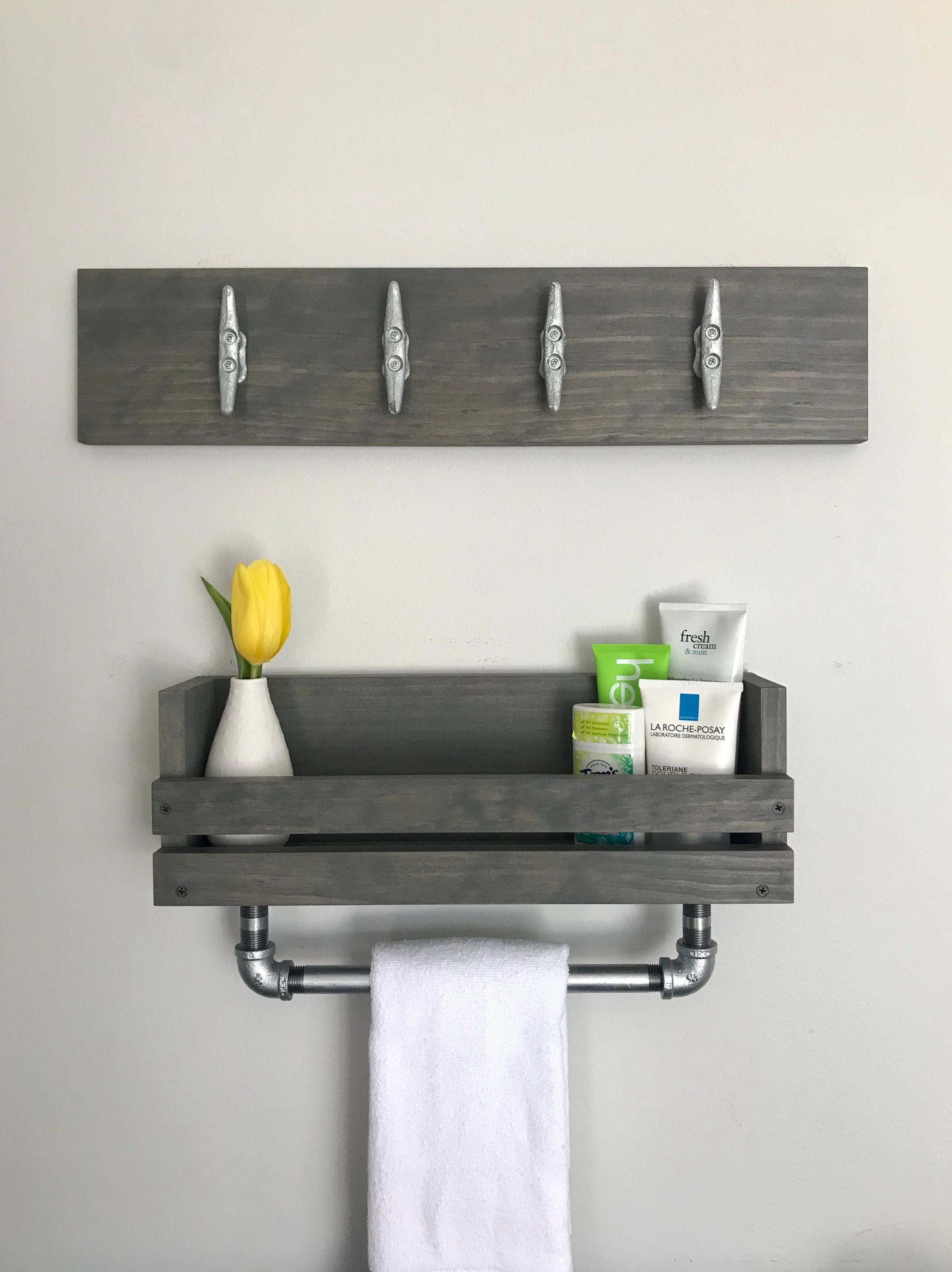 Bathroom Set Galvanized Gray Towel Bar Shelf Coastal Modern Etsy Towel Rack Nautical Bathrooms Bathroom Storage Shelves