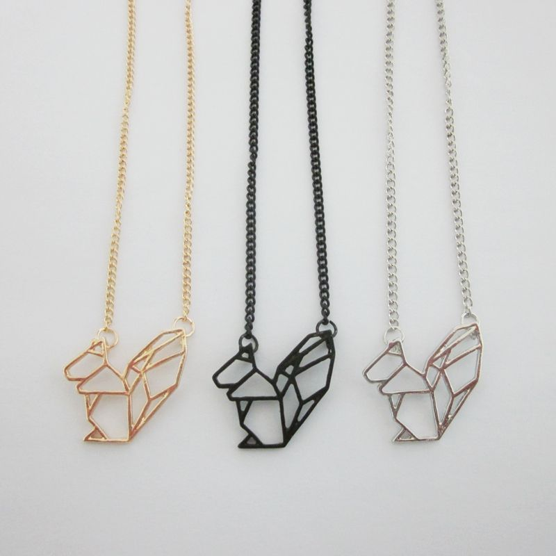 Lastest fashion jewelry accessories metal paper folded flexagon lastest fashion jewelry accessories metal paper folded flexagon origami squirrel pendant necklace in pendant necklaces aloadofball Gallery
