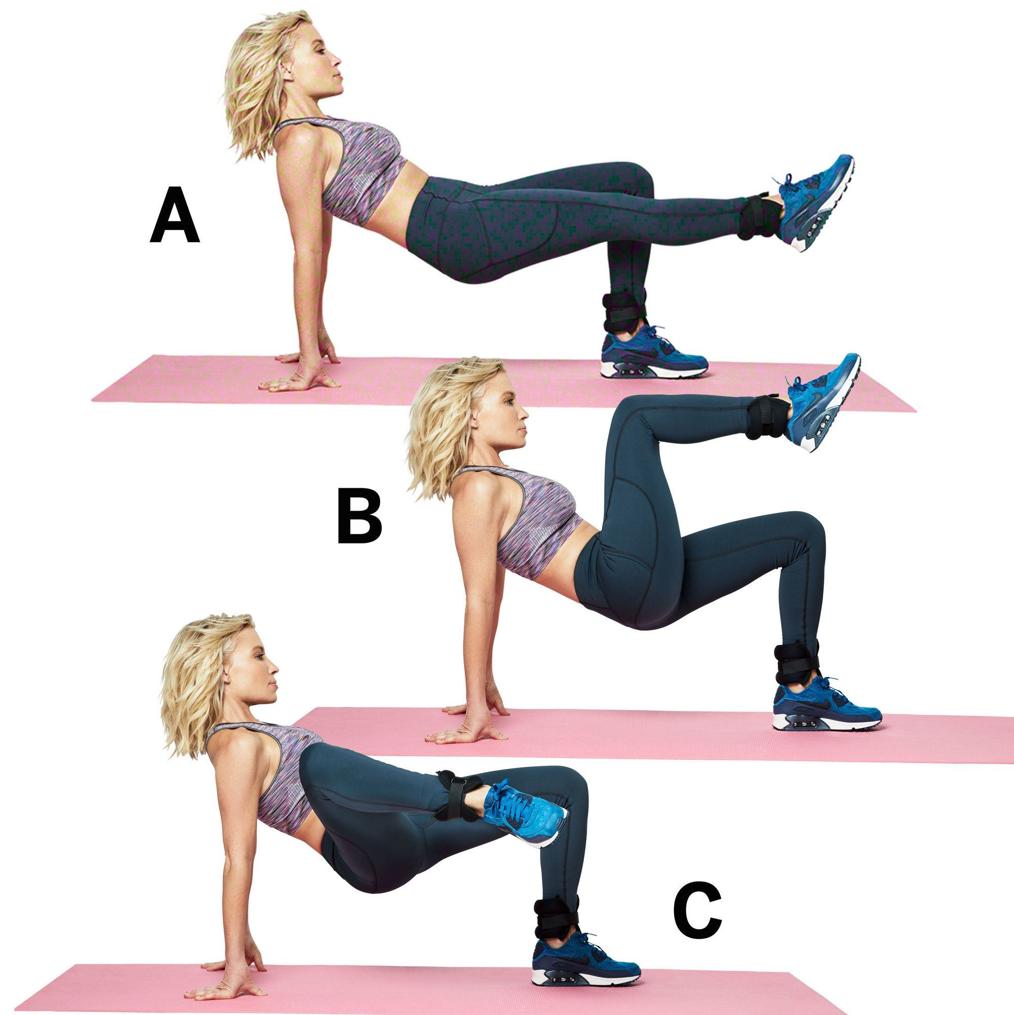 Alternating knee pulls  - Follow these five moves to get your legs slim, toned, and super sexy.
