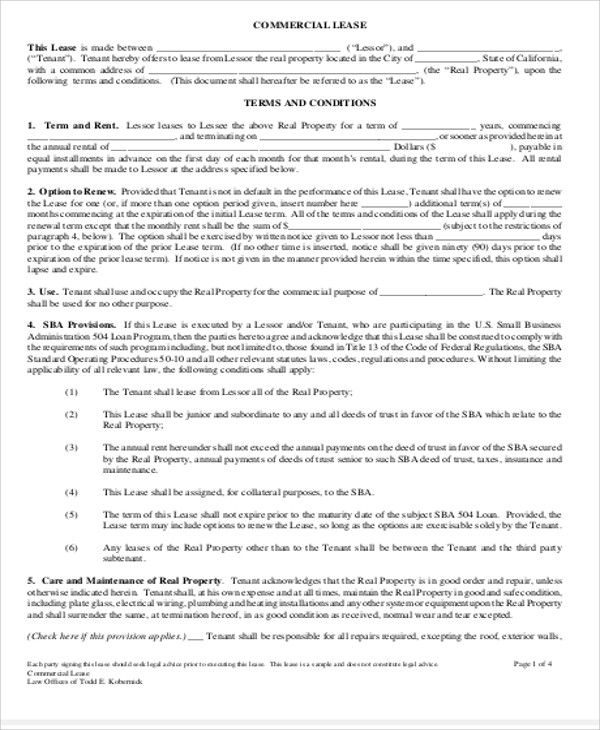 Simple Commercial Lease Agreement Template Pinterest