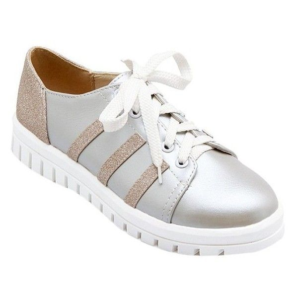 Leisure Sequined Cloth and Color Block Design Athletic Shoes For Women ($29) ❤ liked on Polyvore featuring shoes, sequin shoes, colorblock shoes, color block shoes and block shoes