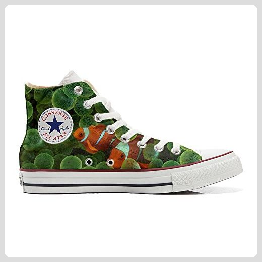 Converse All Star personalisierte Schuhe (Handwerk Produkt) mit Goldfisch -  TG40 - Sneakers für