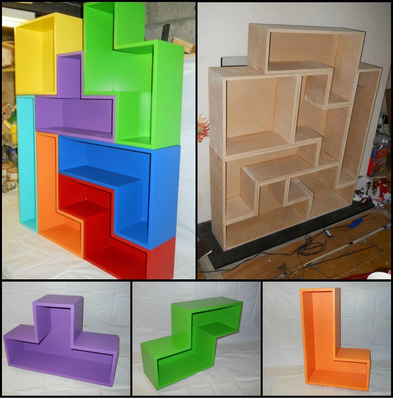 How to build a tetris bookcase storage diy bookcases for Tetris bookshelf