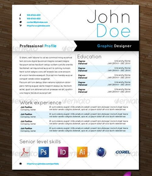 beautiful graphic design resumes - Things I Like Pinterest - professional profile template