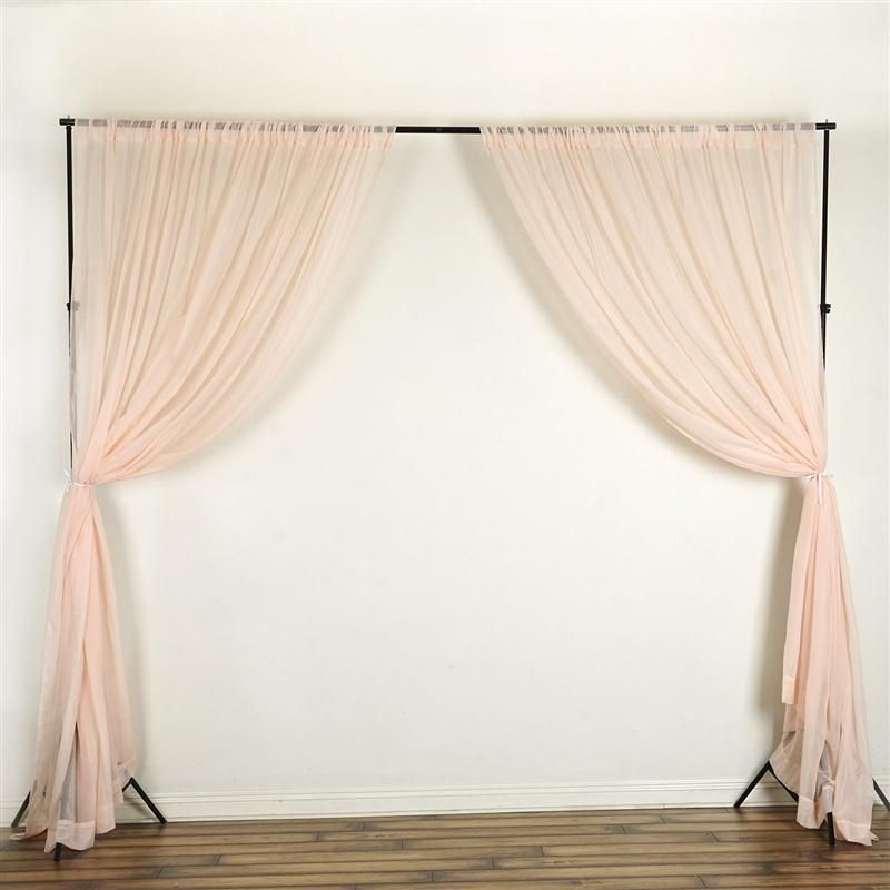 10 Ft X 10 Ft Sheer Voile Professional Backdrop Curtains Drapes Panels Blush In 2020 Drapes Curtains Panel Curtains Custom Drapes