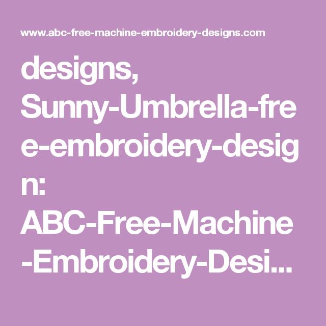 Designs Sunny Umbrella Free Embroidery Design Abc Free Machine
