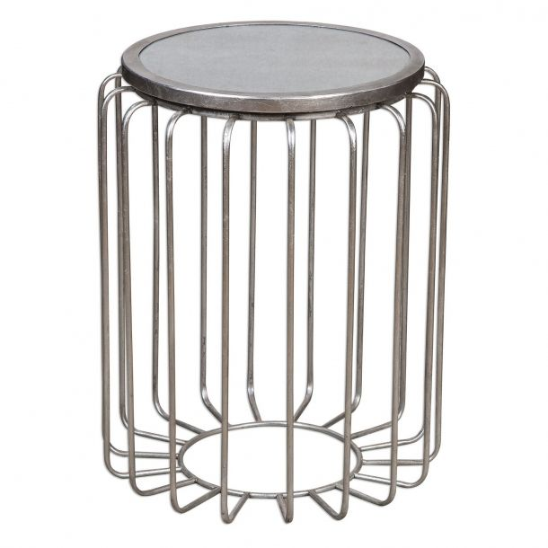 Valerio Antiqued Silver Accent Table With Images Silver Accent