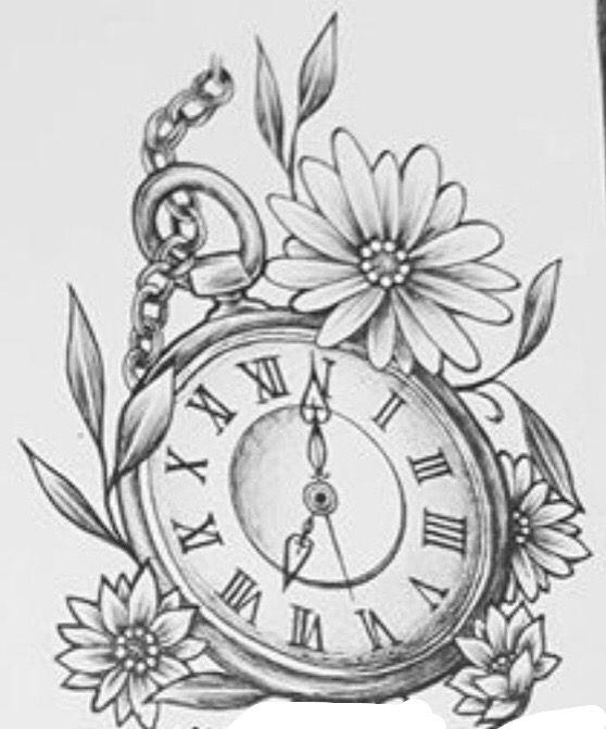 Clock With Daisies Tattoo Daisy Tattoo Arm Tattoos Clock Clock Tattoo Design