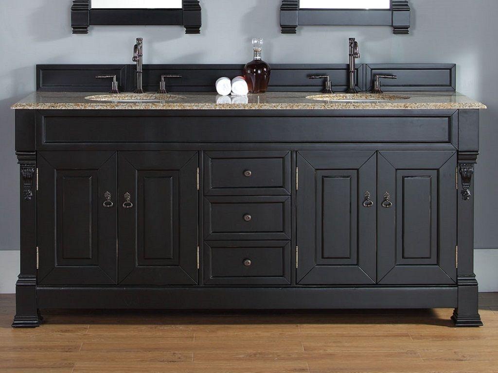 72 Inch Brookfield Antique Black Double Sink Vanity Black Vanity