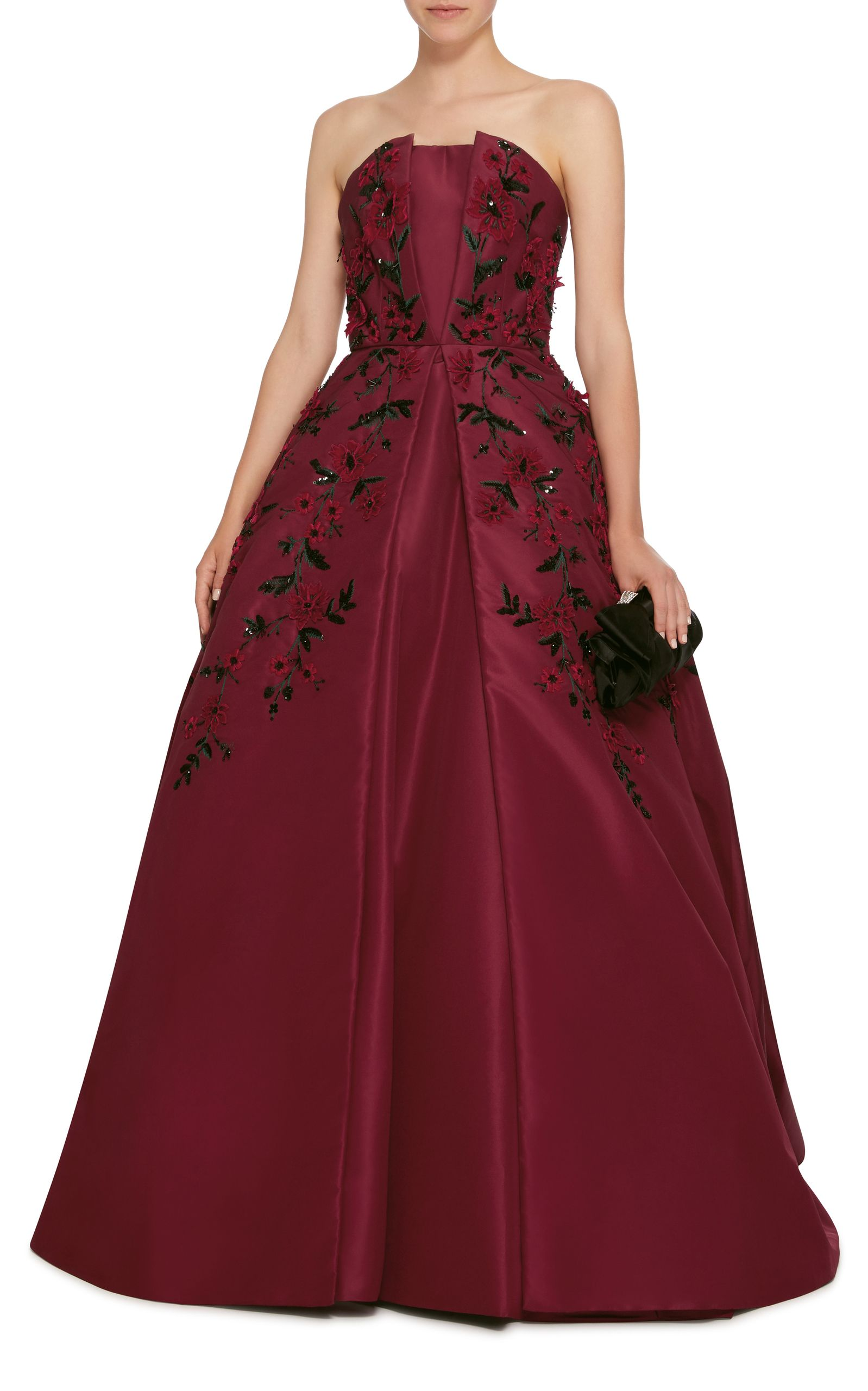 Strapless rose embroidered gown by elizabeth kennedy now available