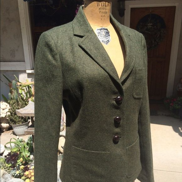 "J. Crew Blazer Dark green wool blazer from J. Crew. Partially lined, w inner pocket (4th pic). In excellent condition, maybe worn twice  size says T8, but I'm a 4 and it fits me (I'm 5'9"") needs a good home! J. Crew Jackets & Coats Blazers"