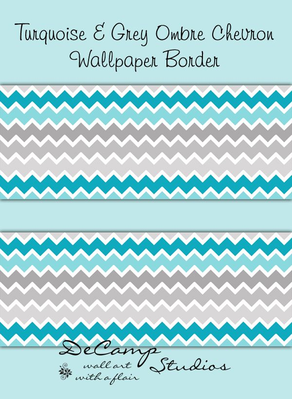 Turquoise Teal Blue Grey Gray Ombre Chevron Wallpaper Border Wall Decal Sticker