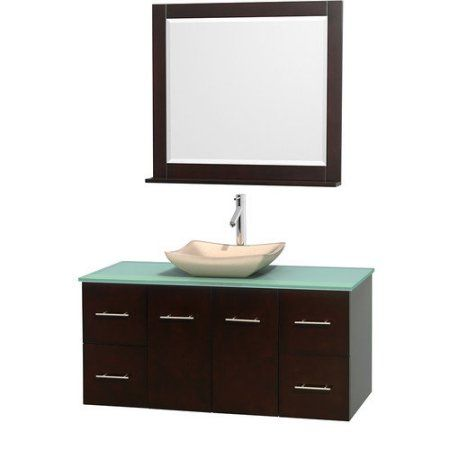 Wyndham Collection Centra 48 inch Single Bathroom Vanity in Espresso, Green Glass Countertop, Avalon Ivory Marble Sink, and 36 inch Mirror, Brown