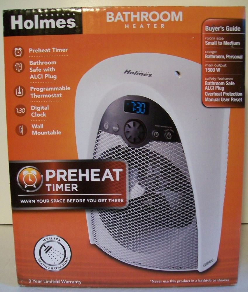 Holmes Bathroom Space Programmable Portable Electric Heater Efficient Timer New #Holmes