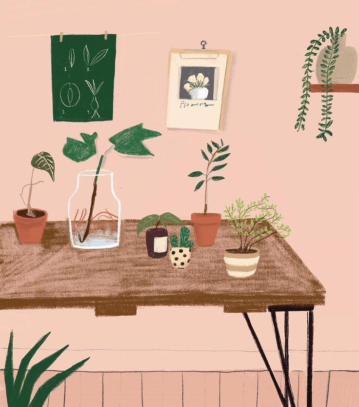 "Patti Blau | Illustration on Instagram: ""Pinks and greens#interior#garden#workspace#illustration #editorial#home #pattiblau"""