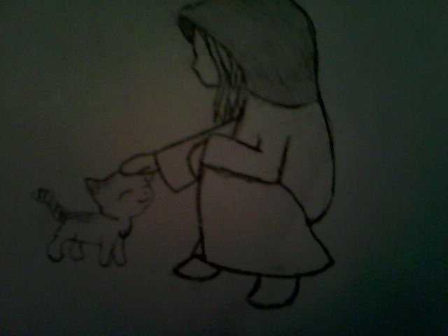 a drawing of a girl and her kitty<3