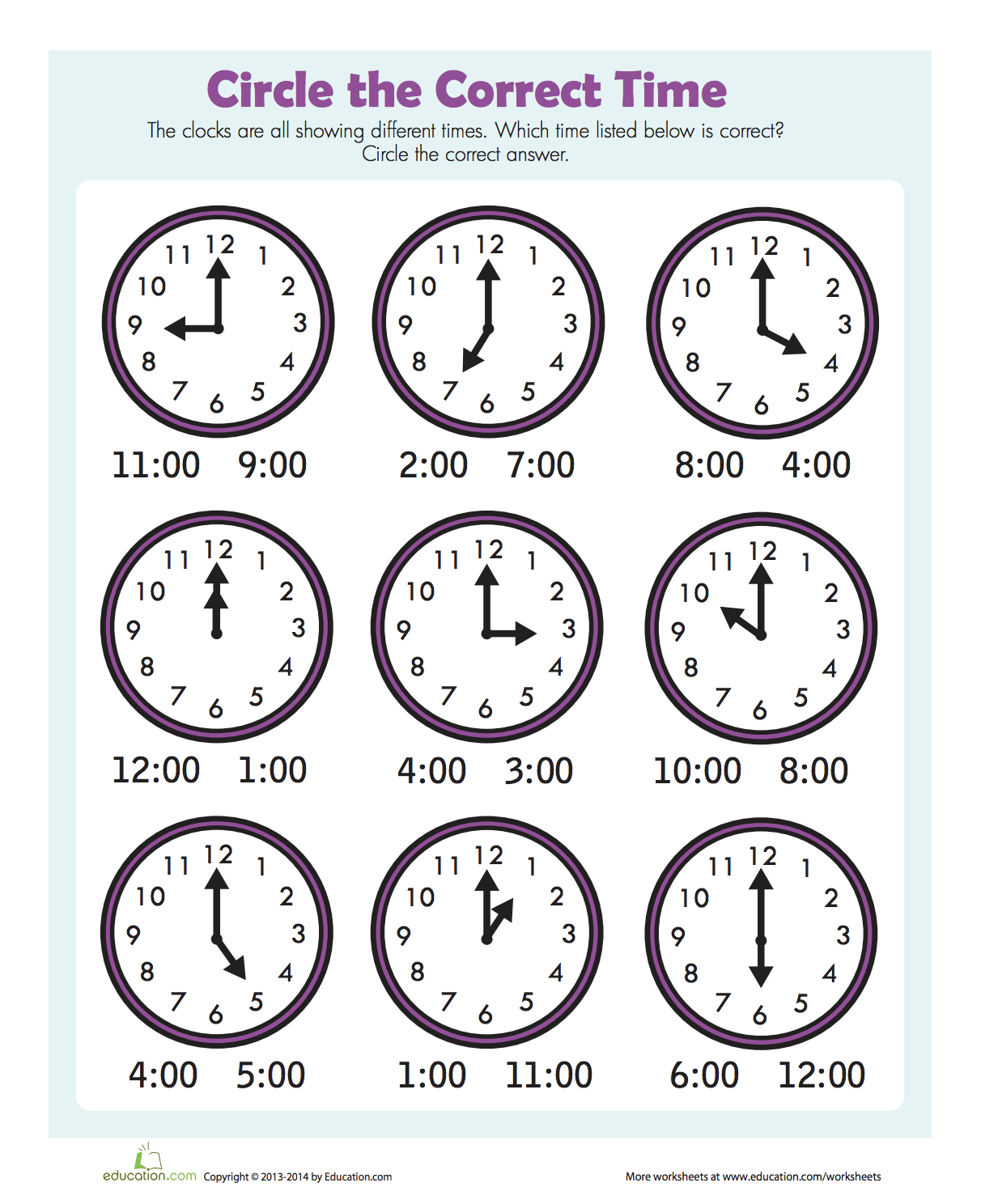 Wonderful free printable worksheet telling time to the ...