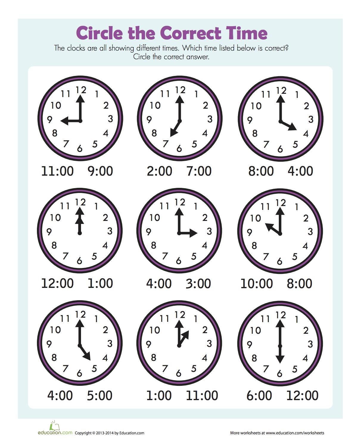 Wonderful free printable worksheet telling time to the ...