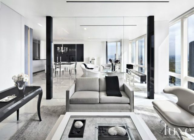 MODERN BLACK AND WHITE LIVING ROOMS BY LUXE INTERIORS+DESIGN  |www.miamidesigndistrict.