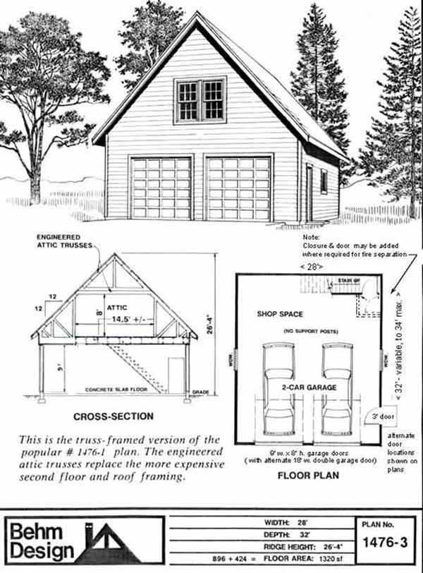 Oversized 2 Car Steep Roof Garage Plan with loft 1476-3