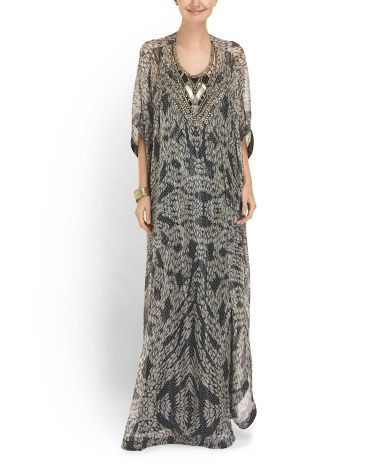 Silk Blend Clare Beaded Gown