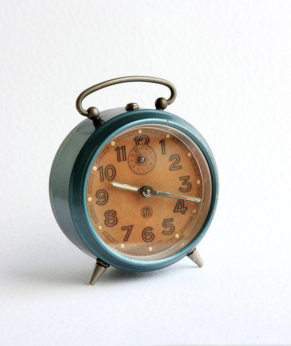 Vintage French Alarm Clock Smi Mechanical Wind Up By Bluepalette