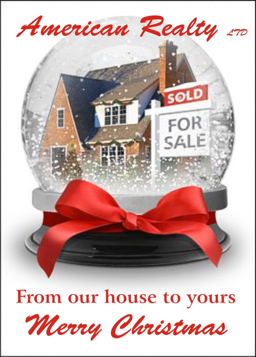 Pin by kelly hauch on real estate humor pinterest real estate personalized realtor christmas card shows a sold home in a seasonal snow globe with a red bow add your name logo and message free reheart Image collections