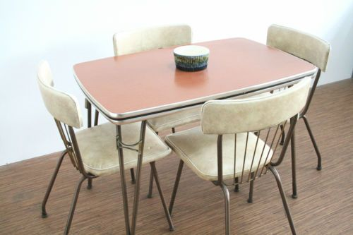 Vintage 1950s Trimline Furniture Kitchen Dining Table And 4 Chairs