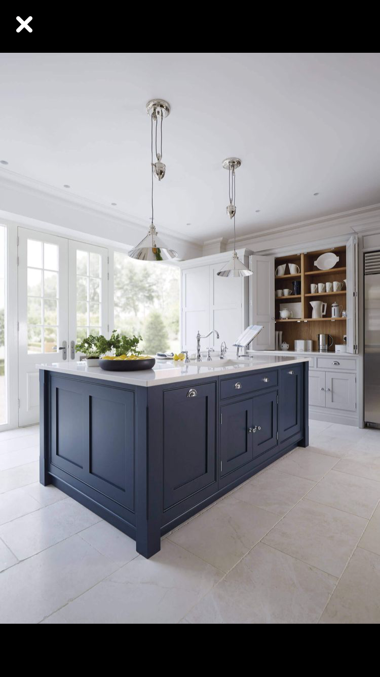 navy blue kitchen decor what to use clean cabinets pin by kimberly hays on new house light gray cabinetry and island dining tables