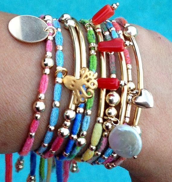 Arm Candy Set of 10 colorful stack  bracelets 14k by MeAndZoca, $168.00