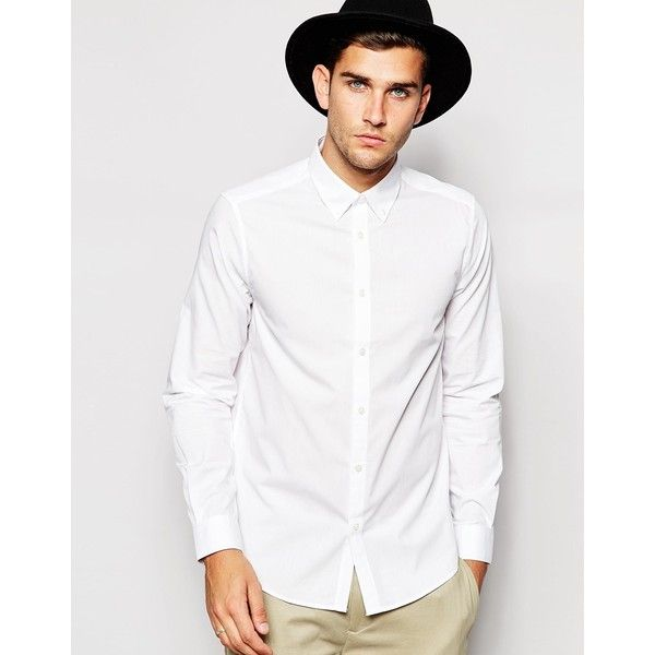 ASOS White Shirt With Button Down Collar In Regular Fit With Long... (