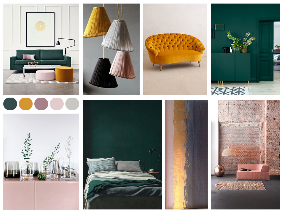 Our inspiration board for this week which takes inspiration from autumnal and winter shades, plus some dusky pink tones