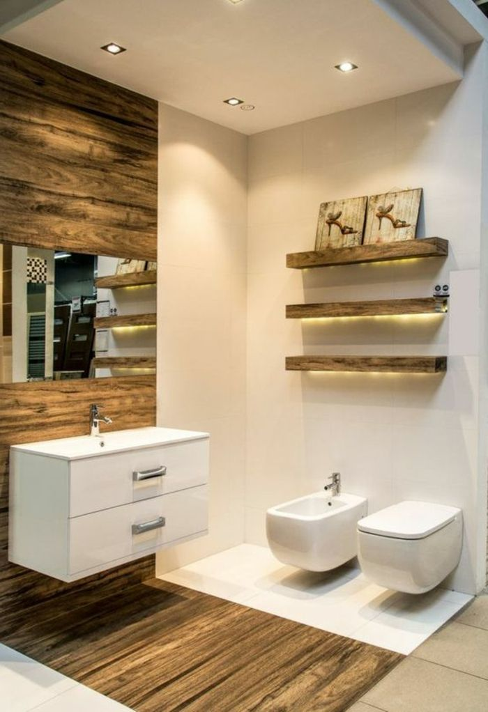 Spot encastrable salle de bain en beige carrelage et bois - Spot salle de bain avec interrupteur ...
