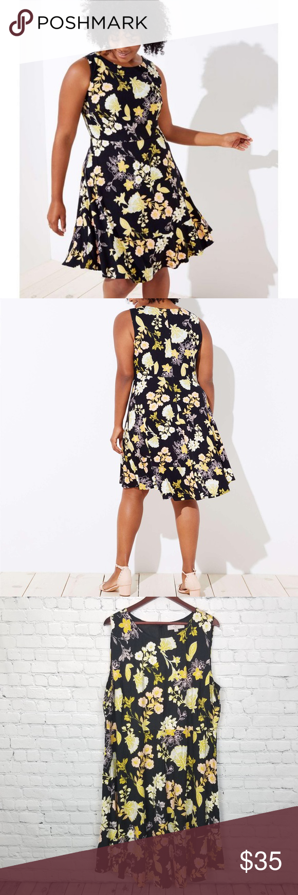 8b06a2f04 LOFT Womens Yellow Floral Flare Dress NWT New with tags, Women's size 24.  Beautiful