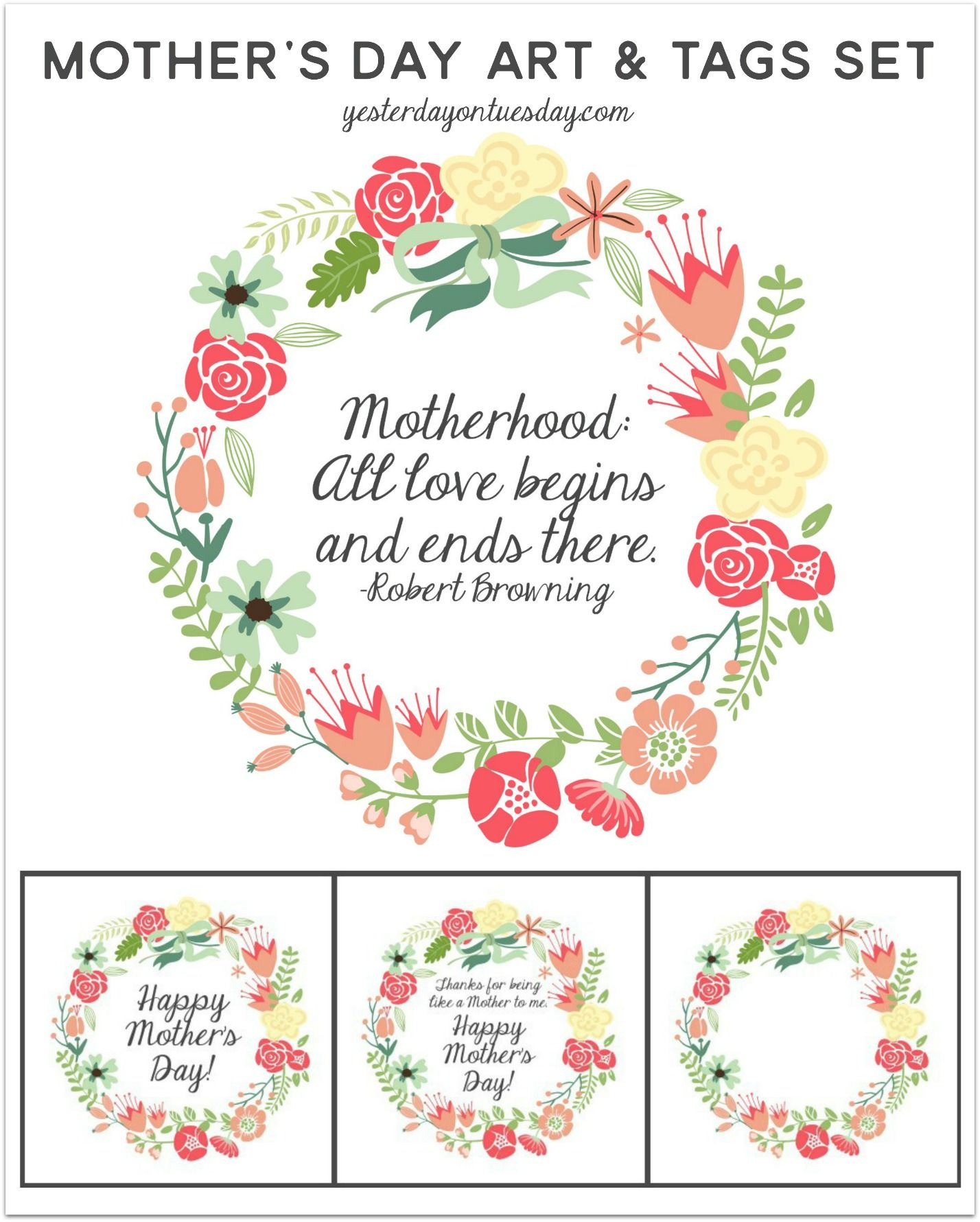 mother 39 s day art and tags for decor and gift giving frame or place on clipboard for effortless. Black Bedroom Furniture Sets. Home Design Ideas
