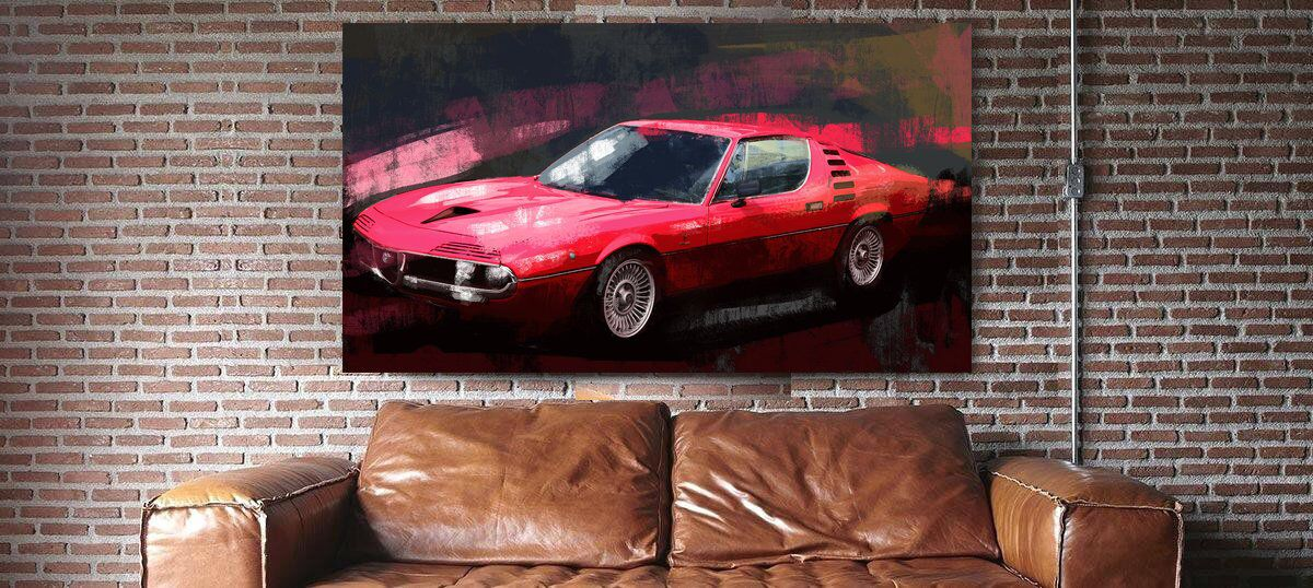 Alfa Romeo Montreal classic Italian red car Large wall decor. Canvas print or a paper giclee print
